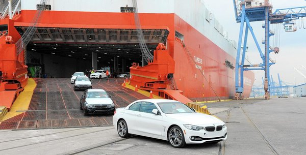 BMW unloading off ship